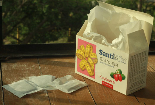 пакетик клубничного чая Сантимин